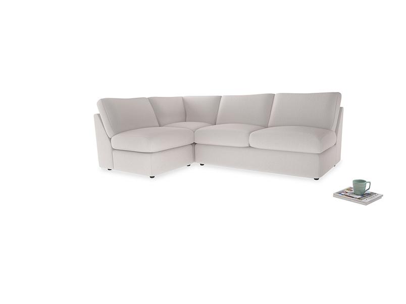 Large left hand Chatnap modular corner storage sofa in Winter White Clever Velvet