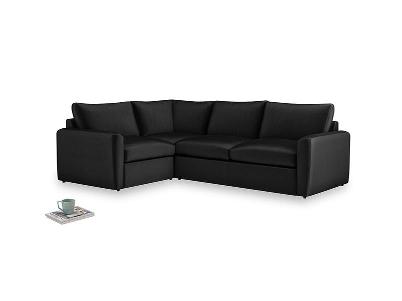 Large left hand Chatnap modular corner storage sofa in Blackboard Vintage Velvet with both arms