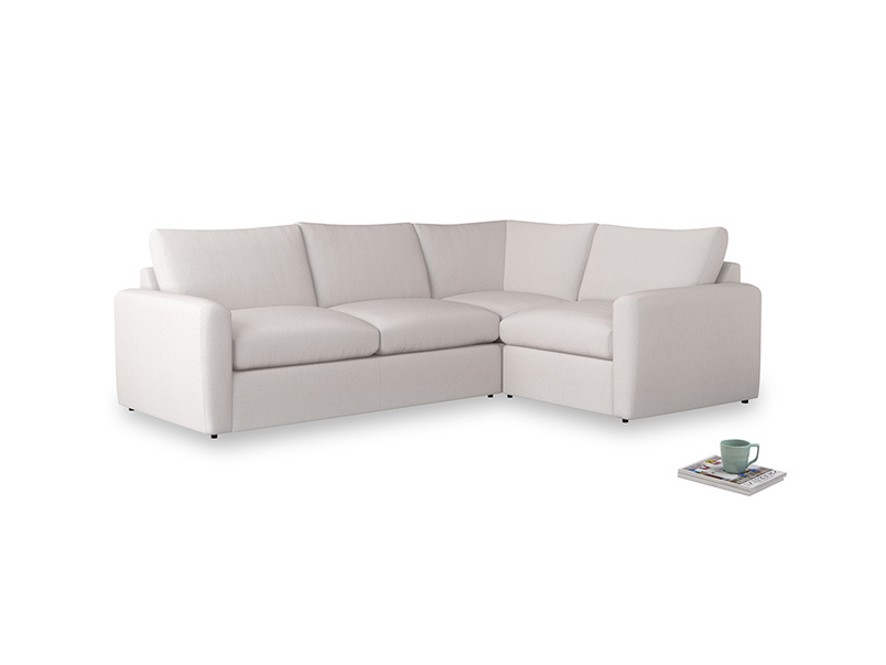 Large right hand Chatnap modular corner storage sofa in Winter White Clever Velvet with both arms