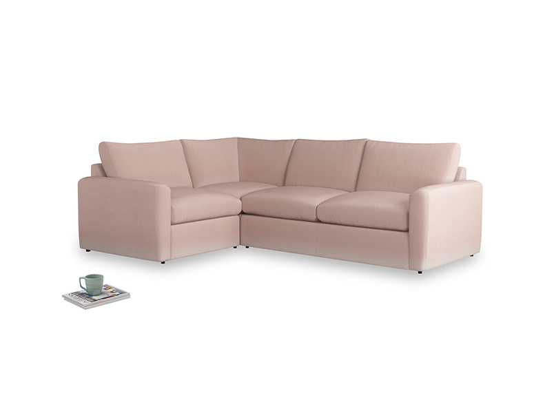 Large left hand Chatnap modular corner storage sofa in Dried Plaster Clever Velvet with both arms