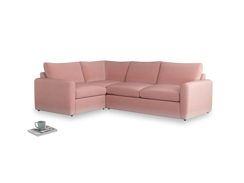 Large left hand Chatnap modular corner storage sofa in Vintage Pink Clever Velvet with both arms