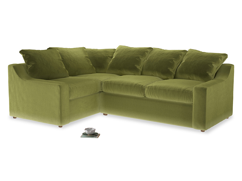 Large Left Hand Cloud Corner Sofa in Light Olive Plush Velvet