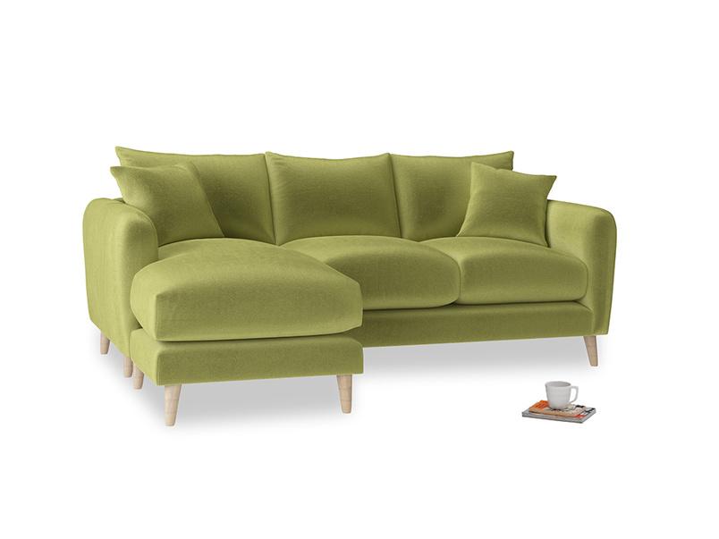 Large left hand Squishmeister Chaise Sofa in Light Olive Plush Velvet