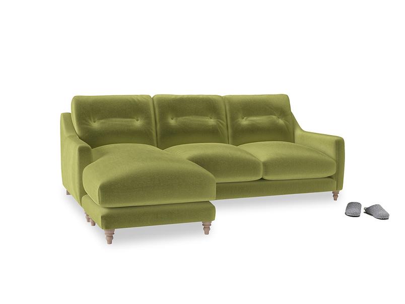 Large left hand Slim Jim Chaise Sofa in Light Olive Plush Velvet