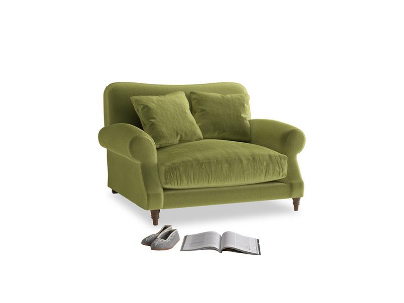 Crumpet Love seat in Light Olive Plush Velvet