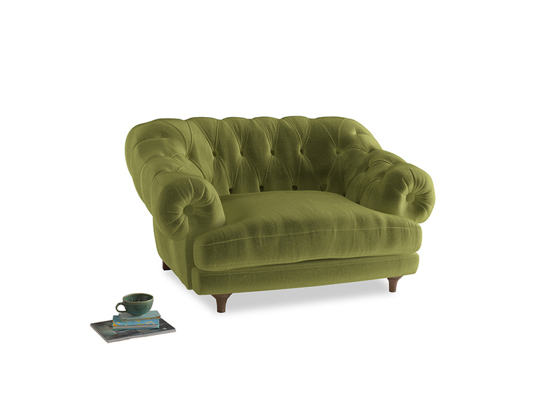 Bagsie Love Seat in Light Olive Plush Velvet