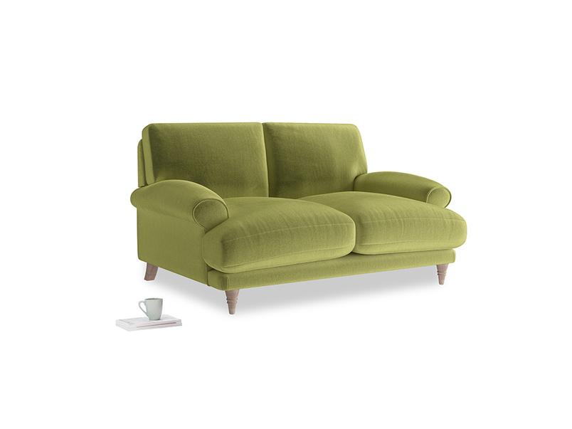 Small Slowcoach Sofa in Light Olive Plush Velvet
