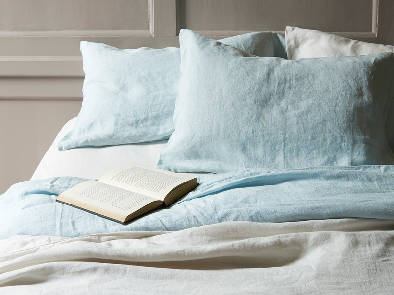 Lazy Linen bed linen in Duck Egg