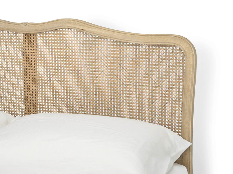 Margot hand-carved oak rattan bed in a beautiful French vintage style