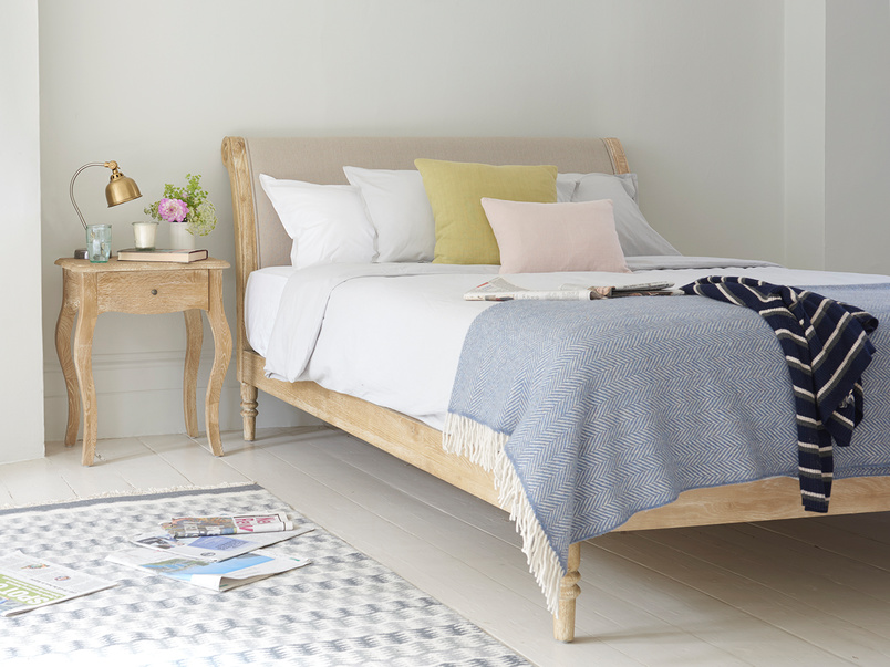 Elegant French style Darcy bed made from solid weathered oak