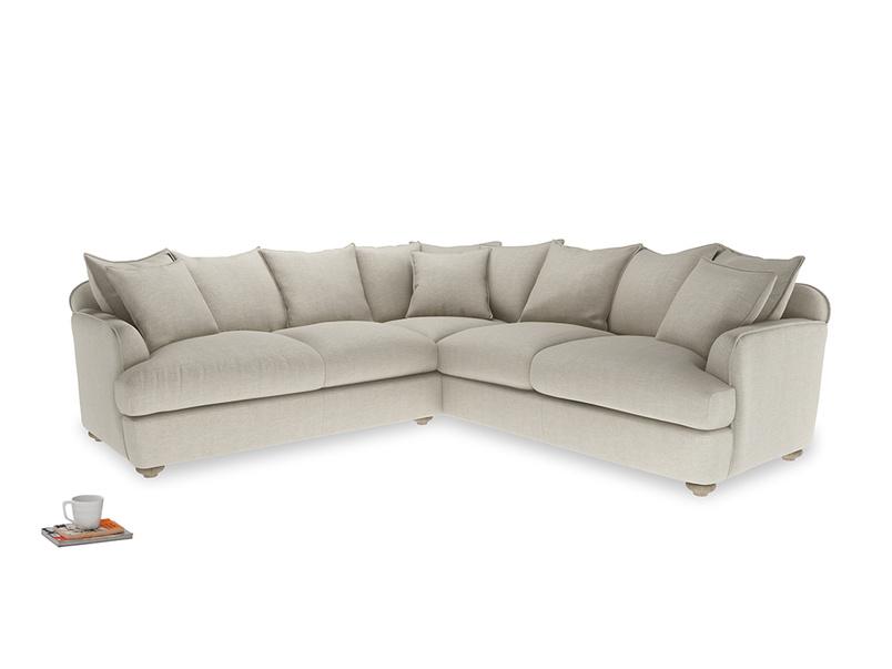XL Left Hand Smooch Corner Sofa Bed in Thatch house fabric