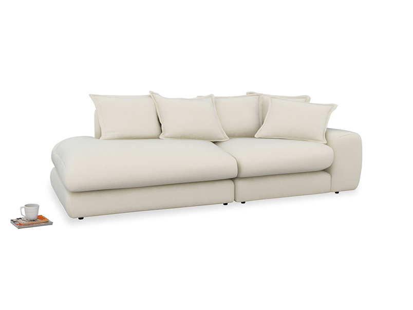 Left Hand Wodge Modular Chaise Longue in Alabaster Bamboo Softie