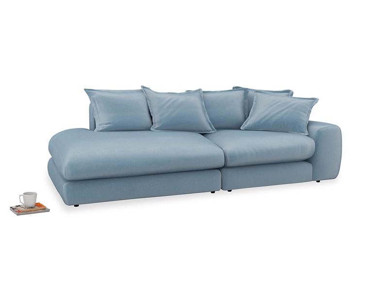 Left Hand Wodge Modular Chaise Longue in Chalky blue vintage velvet