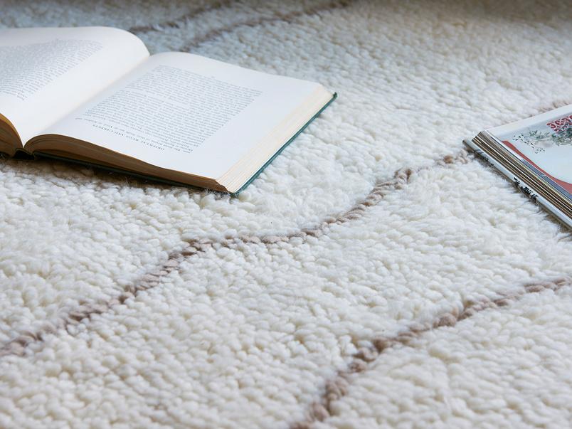 Riad hand woven fluffy wool rug