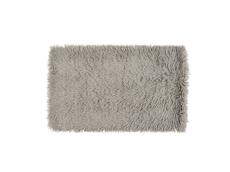 Wilder modern fluffy bedside rug in Grey