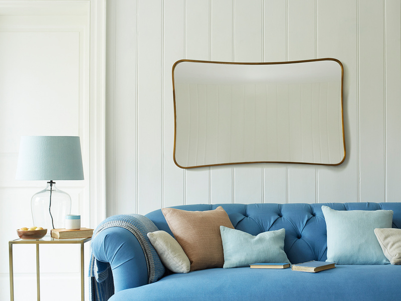 Middle Brass curved wall mirror