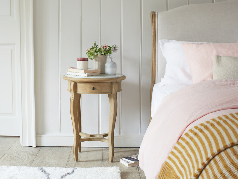 Bella bedside table with marble top