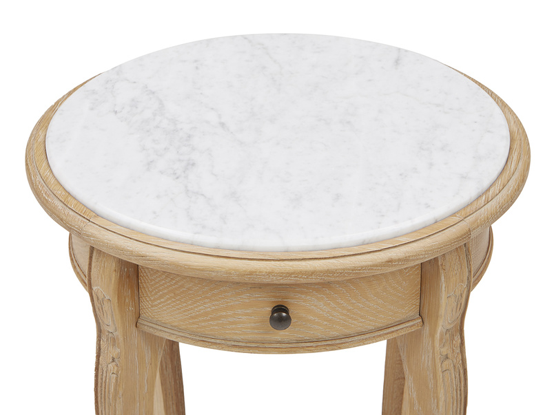 Bella round top side table in Marble top and drawer detail