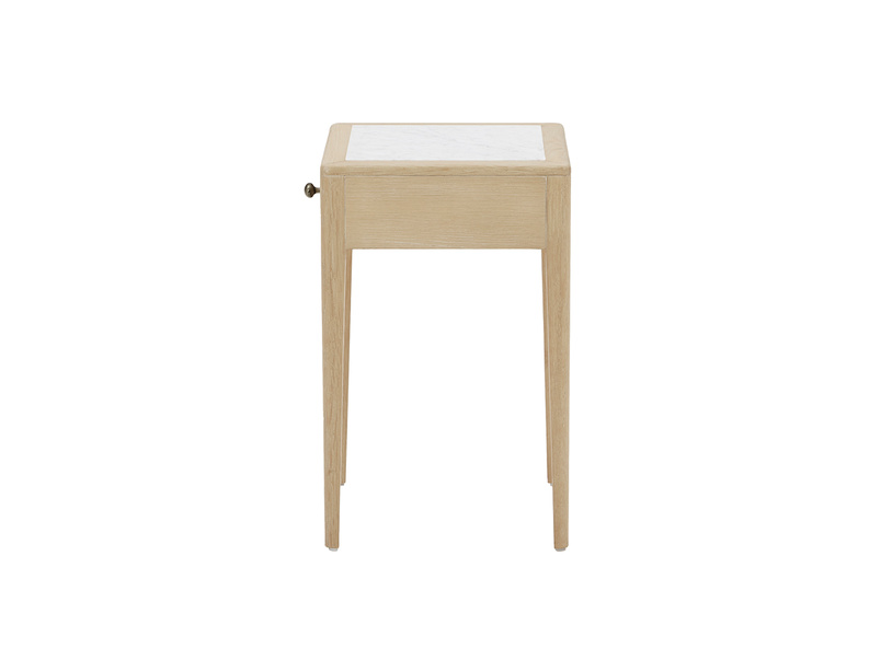 Plink oak and marble side table