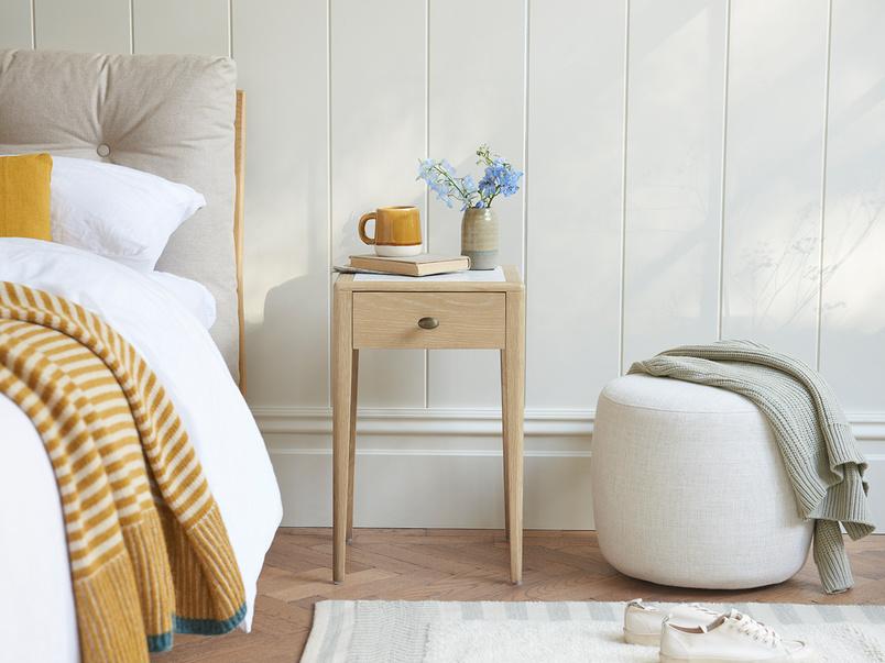 Plink oak and marble bedside table
