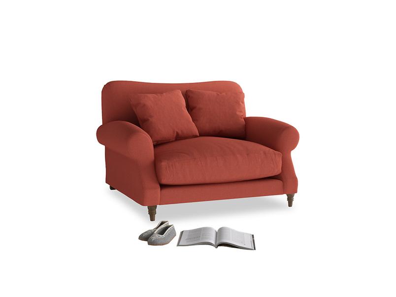 Crumpet Love seat in Burnt Sienna Brushed Cotton