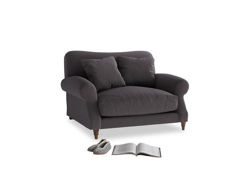 Crumpet Love seat in Faded Noir Vintage Linen