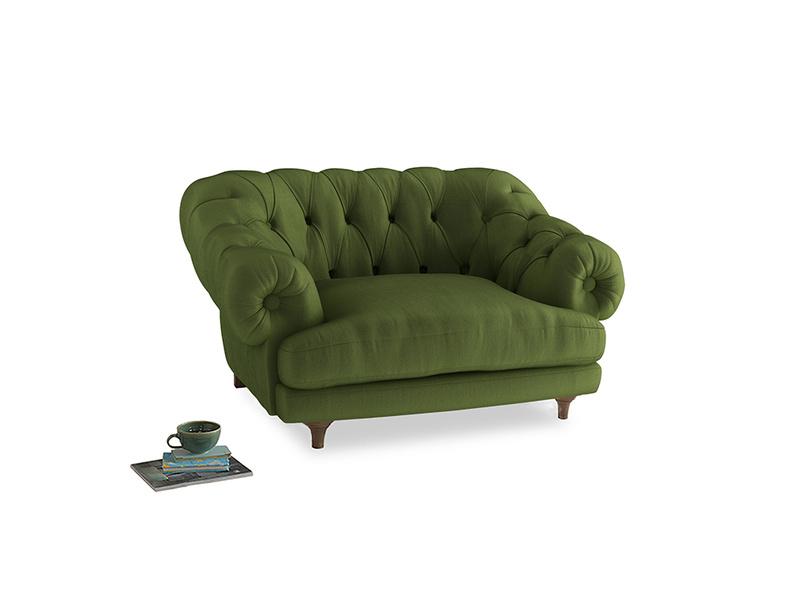 Bagsie Love Seat in Olive Vintage Velvet