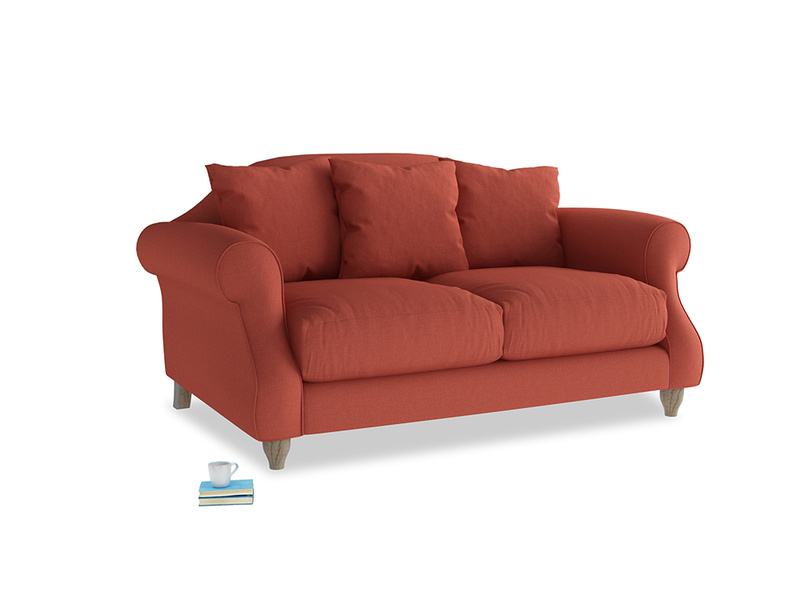 Small Sloucher Sofa in Burnt Sienna Brushed Cotton