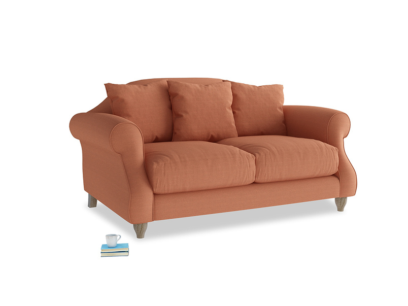 Small Sloucher Sofa in Burnt Umber Vintage Linen