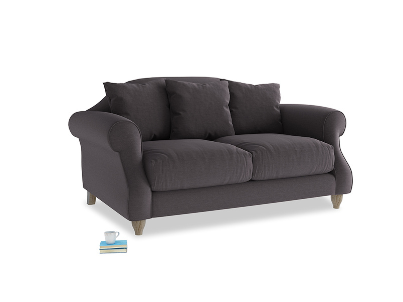 Small Sloucher Sofa in Faded Noir Vintage Linen