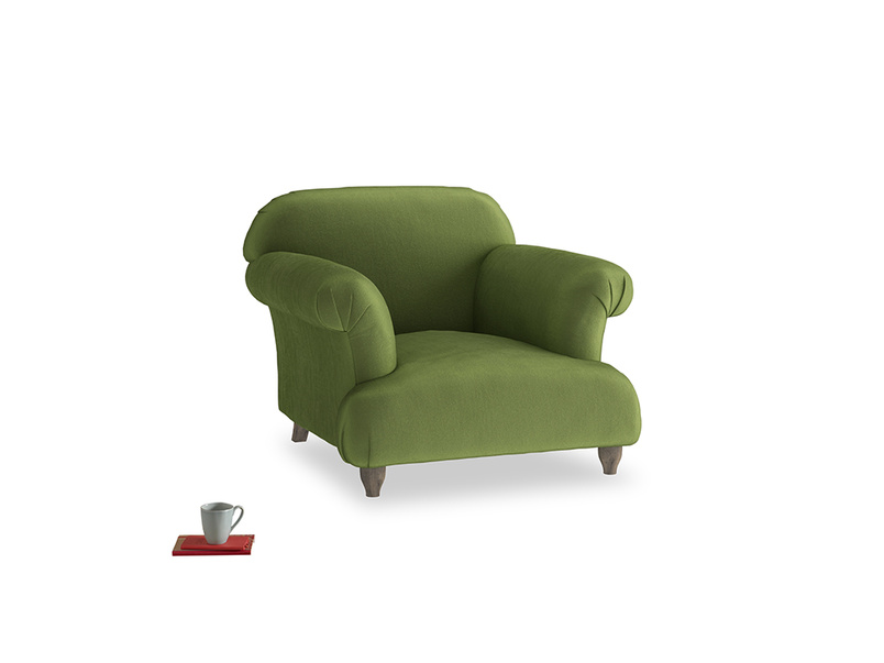 Soufflé Armchair in Olive Vintage Velvet