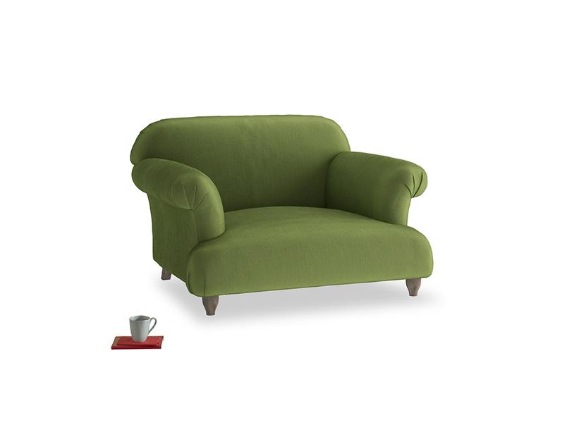 Soufflé Love seat in Olive Vintage Velvet