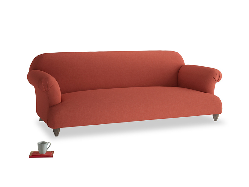 Large Soufflé Sofa in Burnt Sienna Brushed Cotton