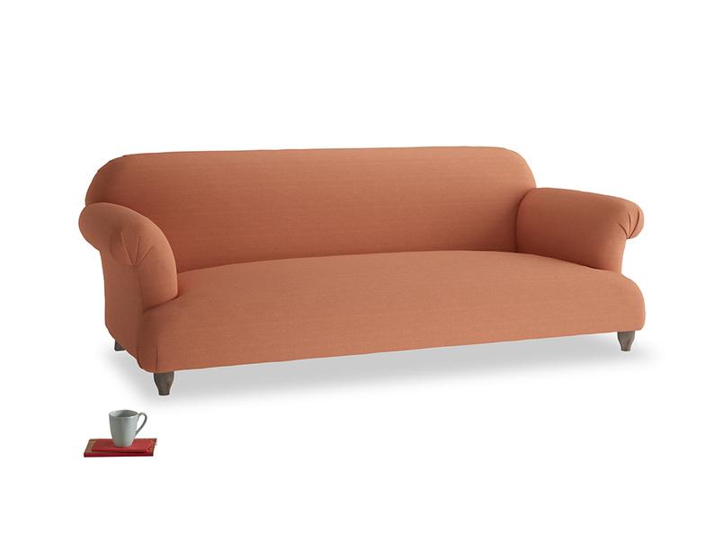 Large Soufflé Sofa in Burnt Umber Vintage Linen