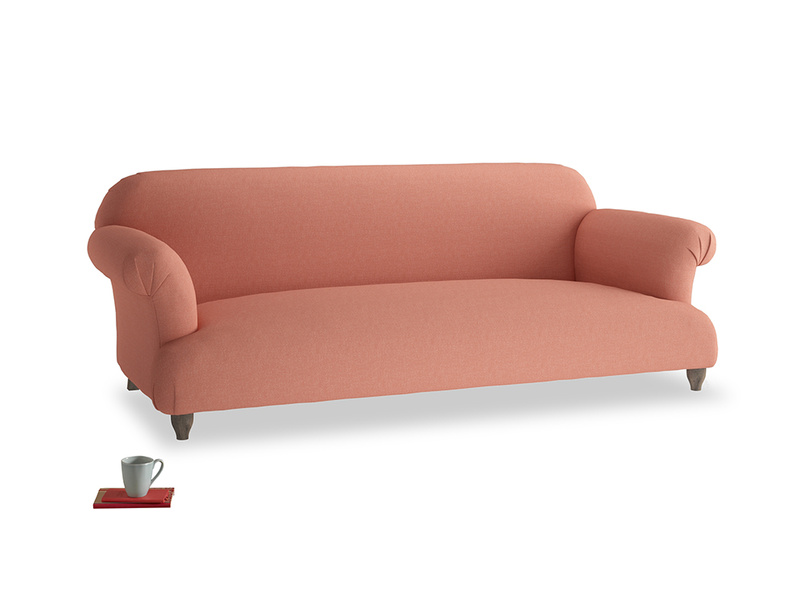 Large Soufflé Sofa in Tawny Pink Brushed Cotton
