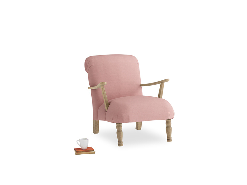 Brew Armchair in Dusty Pink Vintage Linen