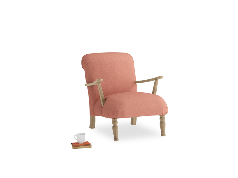 Brew Armchair in Tawny Pink Brushed Cotton
