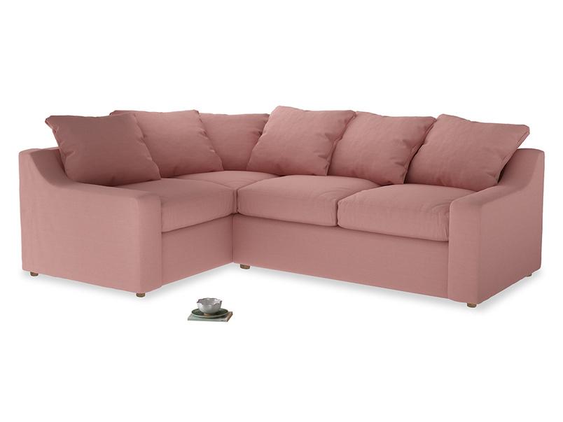 Large Left Hand Cloud Corner Sofa in Dusty Pink Vintage Linen
