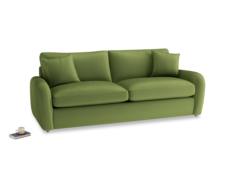 Large Easy Squeeze Sofa Bed in Olive Vintage Velvet