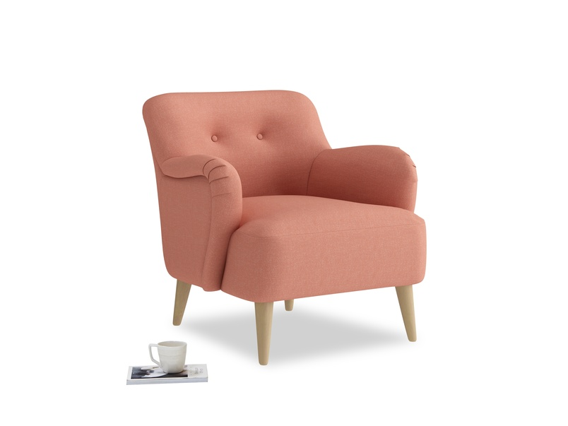 Diggidy Armchair in Tawny Pink Brushed Cotton