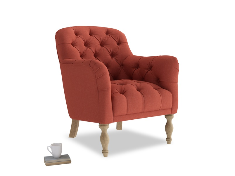 Reader Armchair in Burnt Sienna Brushed Cotton