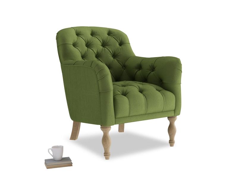 Reader Armchair in Olive Vintage Velvet