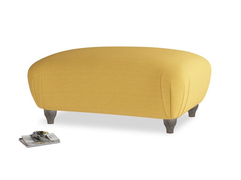 Rectangle Homebody Footstool in Burnt Ochre Vintage Linen