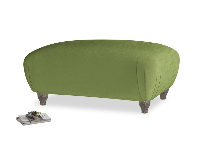 Rectangle Homebody Footstool in Olive Vintage Velvet