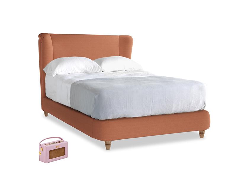 Double Hugger Bed in Burnt Umber Vintage Linen