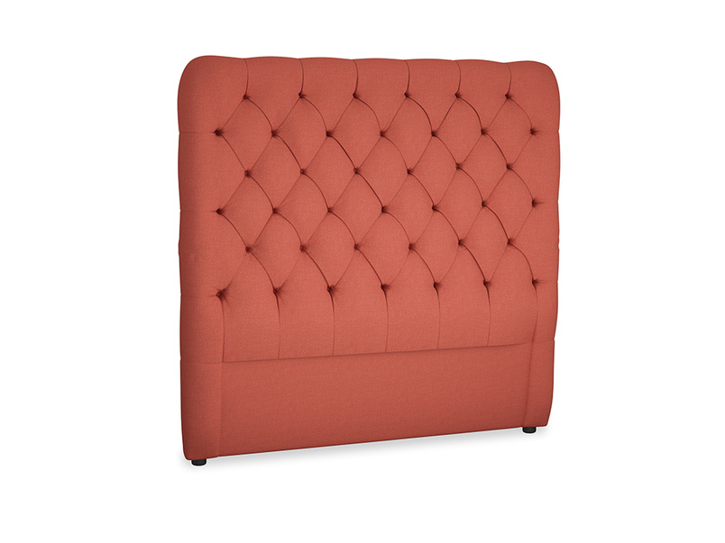Double Tall Billow Headboard in Burnt Sienna Brushed Cotton