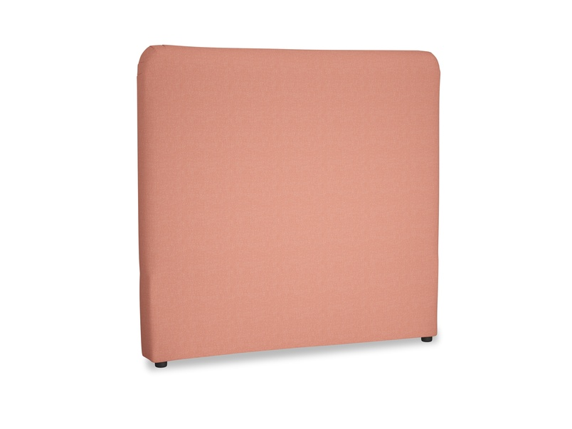 Double Ruffle Headboard in Tawny Pink Brushed Cotton
