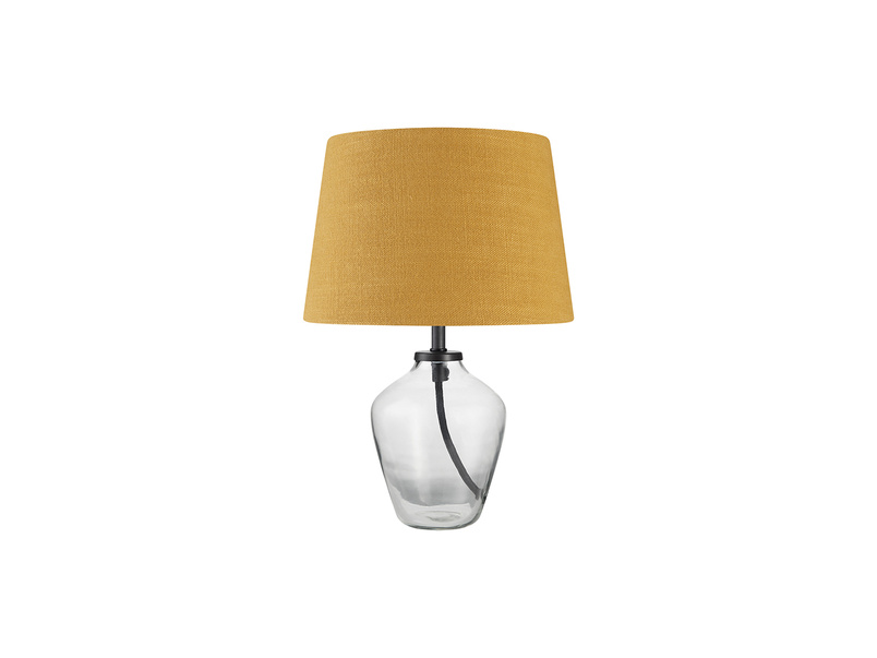 Mini Flagon Table Lamp with a Burnt Ochre Vintage Linen Shade