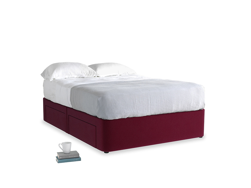Double Tight Space Storage Bed in Merlot Clever Deep Velvet