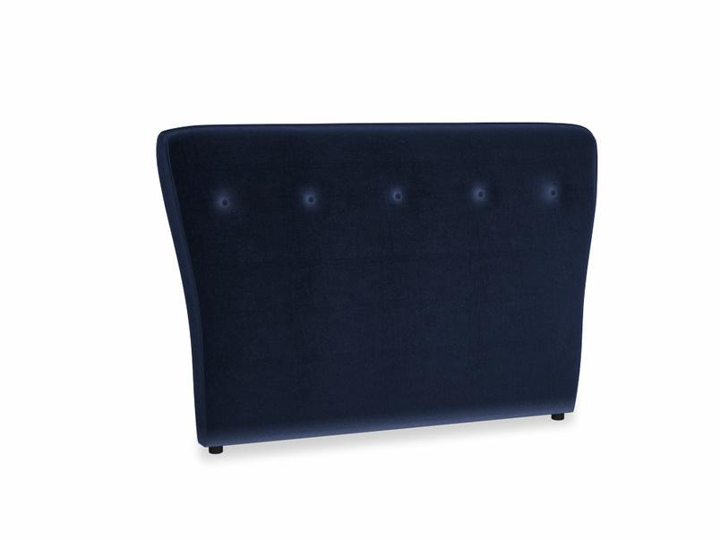 Double Smoke Headboard in Midnight Clever Deep Velvet